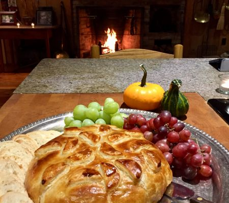 Fireside House Party with warm baked Brie