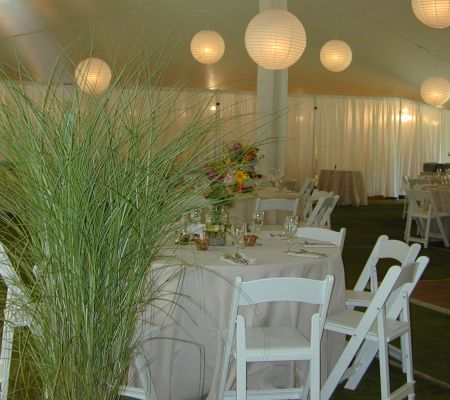 Tented wedding on tennis court!