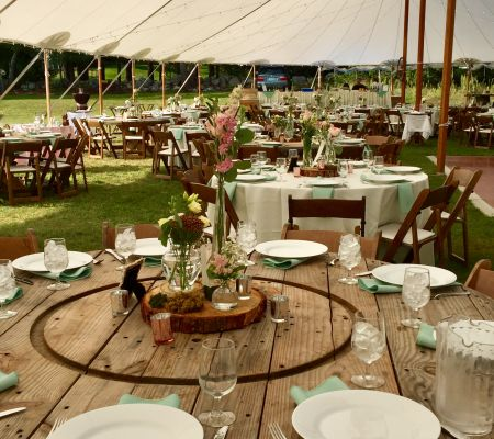 Rustic wooden spool tables
